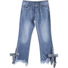 Distressed Lace Up Cutoffs Bootcut Jeans (110 MYR) ❤ liked on Polyvore featuring jeans, ripped jeans, destructed jeans, destroyed jeans, cut off jeans and bootcut jeans