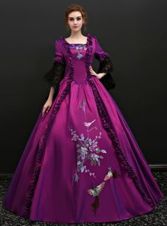 Fairytale Renaissance Dress Outfits Party Costume Masquerade Women's Costume Purple Vintage Cosplay Party Prom Length Sleeve Ball Gown Plus Size Customized Victorian Dress Costume, Costume Renaissance, Renaissance Dresses, Medieval Dress, Victorian Dresses, Lace Party Dresses, Party Dresses For Women, Flower Dresses, Long Dresses