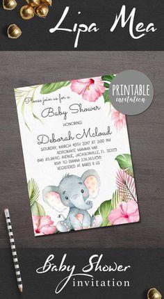 Elephant Baby Shower Invitation Girl Baby Shower Invitation, Safari Baby Shower Invitation Jungle Floral Baby Shower Invitation Ideas - pinned by pin4etsy.com