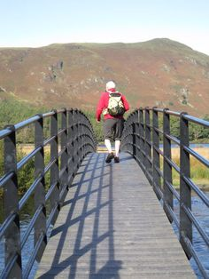 Walking across the Chinese Bridge over the river Derwent on the path from Lodore to Manesty Chinese Bridge, Over The River, Lake District, Crosses, Bridges, Paths, Walking, Jogging, Walks