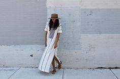 #summer #stripes #maxi #dress #slit