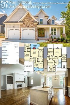 Our client built Architectural Designs House Plan 15806GE with a stone and board and batten exterior in Tennessee. Ready when you are! Where do YOU want to build?