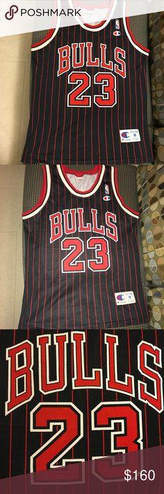 Michael Jordan Chicago Bulls Champion Jersey Michael Jordan nba basketball  vintage Champion pinstripe jersey. Size 76af40a02