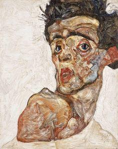 klimt zeichnungen Self-Portrait Egon Schiele with Raised Bare Shoulder, 1912 Canvas Art - x 48 Gustav Klimt, Egon Schiele Zeichnungen, Egon Schiele Drawings, Artist Canvas, Canvas Art, National Gallery, Kunst Poster, A Level Art, Artist At Work
