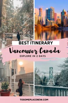 Visit Vancouver Canada - Get the Vancouver things to do in 2 days for summer and winter, including travel tips and city guide. Visit Capilano Suspension Park, Gastown, Stanley Park and so much more. Here is your ultimate 2 day Vancouver Itinerary Vancouver Things To Do, Visit Vancouver, Vancouver Travel, Granville Island Vancouver, Stanley Park Vancouver, Vancouver Gastown, Vancouver Winter, Vancouver City, Seattle Travel