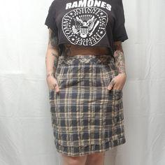 b94bf8909 Anthropologie CORDELIA Pocket Plaid Skirt Gray Mustard Wool/Cotton Lined  Women 8 #Anthropologie #ALine