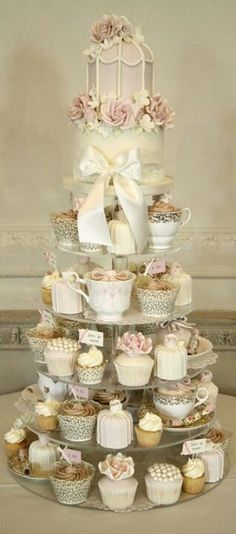 Cupcakes in tea cups. Cute for a tea party. :)