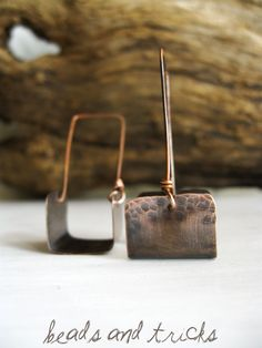 Copper earrings, simple line {Handmade by Beads and Tricks}