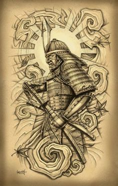 awesome Tattoo Trends - Attractive Samurai With Sword Tattoo Design For Men By Loren Fetterman. Cover Up Tattoos, Arm Tattoos, Tattoo Drawings, Sleeve Tattoos, Tribal Tattoos, Samurai Maske Tattoo, Samurai Warrior Tattoo, Samurai Drawing, Samurai Art