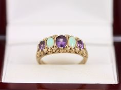 Amethyst and Opal Ring 9ct Gold Ladies Vintage Size N 1/2 375 5.1g AG94