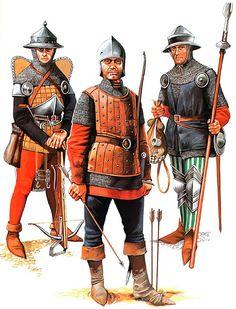Battle of Agincourt, 25 October 1415 • Crossbowman  • English archer  • Infantryman