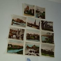 B Vintage paper supplies lot ephemera 11 scenic colourized photos tobacco trading cards cigarettes R J Hill