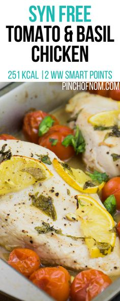 Tomato and Basil Chicken - Pinch Of Nom Slimming World Tips, Slimming World Dinners, Slimming World Breakfast, Slimming Eats, Slimming Recipes, Healthy Eating Recipes, Diet Recipes, Chicken Recipes, Healthy Food