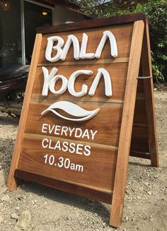 Logo design and floating letters on a wooden self standing board, Bala Yoga, Nosara Costa Rica Church Foyer, Nosara, Costa Rica, Wood Signs, Logo Design, Boards, 3d, Interior, Crafts