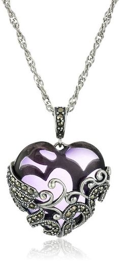 Sterling silver filigree heart pendant necklace review silver sterling silver oxidized marcasite and amethyst colored glass filigree heart pendant necklace 18 aloadofball Gallery