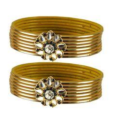 Vidhya Kangan Brass Designer Bangles Color   Gold Bangles on Shimply.com