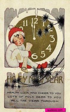 Happy New Year.  Child under a clock.  Vintage Christmas Card.   suzilove.com