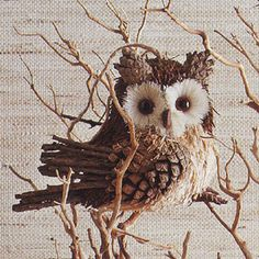 Timber Owl Ornament - Corn husks, pine cone petals, twigs and more.
