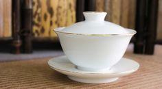 White Gilded Porcelain Gaiwan   Verdant Tea