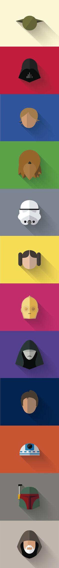 A #colorful #great #starwars #flatdesign #longshadow icons series by Filipe Carvalho.