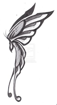 butterfly side tribal wings fairy drawing outline drawings deviantart profile tattoos sketch tattoo clipart easy sketches butterflies pencil designs clip