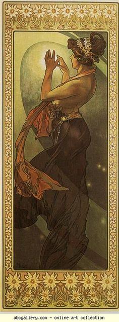Alphonse Mucha.  Estrella Polar.  De La Luna y la Serie estrellas.