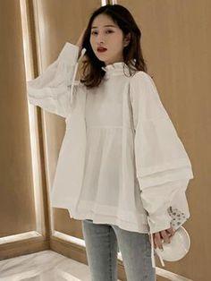 Frock Fashion, Fashion Sewing, Fashion Dresses, Iranian Women Fashion, Korean Fashion, Dress Shirts For Women, Clothes For Women, Style Du Japon, Casual Chic Outfits