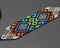 Geometric Huichol Bracelet Tribal Geometric Bracelet Beaded   Etsy