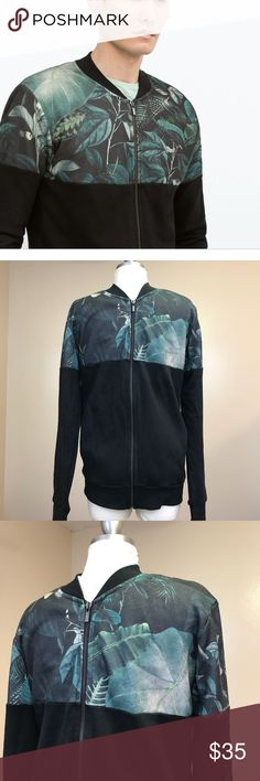 Zara Man tropical print black zip up jacket small Zara Man Tropical Print Black Zip Up Jacket Sweatshirt Hawaiian Bomber Small is new and in perfect condition.  It is 70% polyester and 30% cotton.  Retailed for $69.90.  See pics for details.  Shoulders 17'  Sleeve 25 1/4'  Chest 19'  Length 26' Zara Jackets & Coats Bomber & Varsity