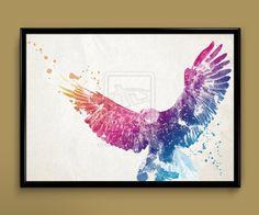 Watercolor Art - Eagle print by ColourInk Eagle Artwork, Floral Back Tattoos, Circle Logo Design, Eagle Print, Eagle Tattoos, Best Sleeve Tattoos, Watercolor Bird, Watercolor Tattoo, Picture Tattoos