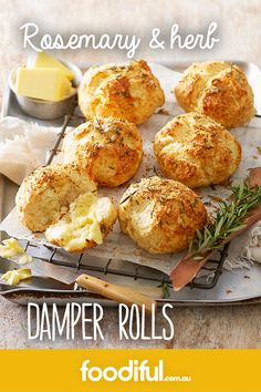 Take the classic damper, add cheese and rosemary, and bake in mini roll form. A great Australian recipe for dinner rolls. This recipe takes 40 minutes and serves (xmas food aussie) Aussie Food, Australian Food, Australian Christmas Food, Australian Recipes, Dinner Rolls Recipe, Dinner Recipes, Drink Recipes, Damper Recipe, Great Recipes