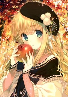 Blonde anime girl with apple