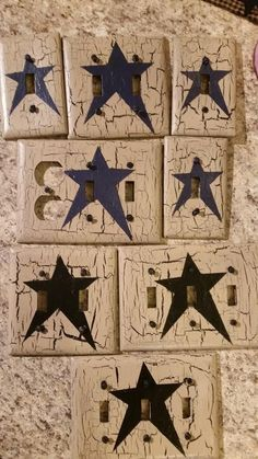 set of 8 black star switch plate covers  primitive country