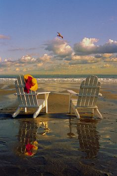 Adirondack chairs Kennebunk Beach, Maine | Bob Dennis