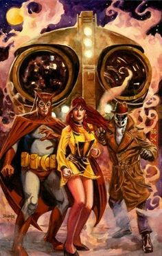 Nite-Owl, Silk Spectre, & Rorschach (Watchmen) Art by Dan Brereton Marvel Dc Comics, Dc Comics Art, Fun Comics, Comic Book Characters, Comic Character, Comic Books Art, Book Art, Silk Spectre, Manhattan