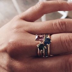 """Aaaaah  !! The ⭐️ @cissiforss and her mumbai stack. She said """"go wild and pick out something"""" but then she just KILLED it on her own  #strong #colours #ftw #opengemring #lucyring #princesslucyring #jadering #mumbaistockholm #cissiforss #mumbaigrrl"""