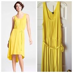 Ann Taylor Sundress☀️ Beautiful yellow high/low pleated front yellow tank dress. Gorgeous cascade, light elastic waist, matching belt. No fasteners/drops over head. Easy to wear & care/97% rayon 3% spandex. Would be gorgeous paired with a white blazer. Excellent condition/New without tags/never worn. Ann Taylor Dresses High Low