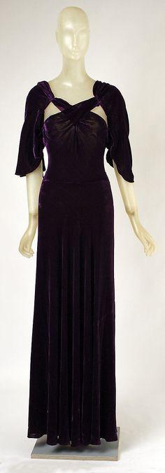 Purple silk velvet dinner dress, by Madeleine Vionnet, French, ca. 1934.