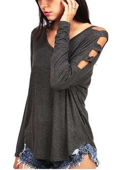 Feel the warmth while being trendy in this shoulder cut out t-shirt in a grey color featuring a V neckline. Get one for your fall wardrobe at Fichic.com!