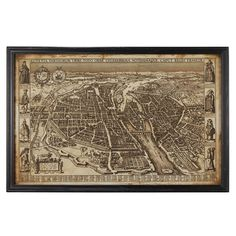 Antique Early Paris Framed Map - Multi   Having just acquired a couple of vintage maps C1930s I am thinking that this looks great!