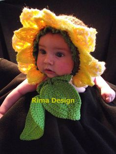 Baby SUNflower hat bonnet GENUINE Original Design two leaves photography props 3 to 12 months girl