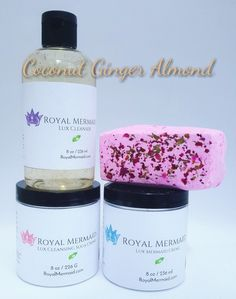 Coconut Ginger Almond Skincare Collection  Create a life that you don't need a vacation from with Royal Mermaid & The Captain! We specialize in personalized products and incredible customer service. RoyalMermaid.com #royalmermaid #thecaptain #nomoredryskin #soothing #eczema #hormonesafe #pcossafe #pcos #psoriasis #shopsmall #gifts #birthday #bathfizzies #cleanser #skinpolish #mermaid #mermaidcreme #seasoak