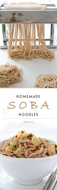 Homemade Soba Noodles - an easy way to make your own soba noodles using food processor and pasta machine - diettaste.com