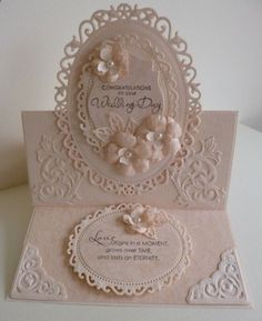 handmade wedding card ... layers of gorgeous Spellbinders die cuts ... inspring sentiments by Stampin Up! ... pale peachy color ... delightful!!!