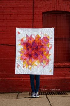 Back Outside   happysewlucky. HST random color solid quilt.