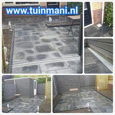 Deze mooie tuin heeft een prachtige basis gekregen van sierbestrating bestrating. Ook is hier gedacht aan de afwatering dmv een goot. Bij Tuinmani hebben we alle soorten bestrating: Keramisch , gebakken en natuursteen . Hier is gekozen voor beton bestrating met wildverband. Geeft een speelse vorm. Geplaatst door en verkrijgbaar bij #tuinmani @tuinmani www.tuinmani.nl