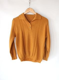 Vintage 60s Mustard Yellow Collared Henley Sweater // Unisex Spring Sweater. $42.00, via Etsy.