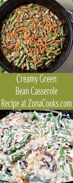This homemade version of the classic Creamy Green Bean Casserole, with fresh green beans, a rich creamy mushroom sauce from scratch, and crispy French's Fried Onion topping is delicious, easy, and quick and cooks in just one pan. This recipe makes a great side dish for two and is perfect for intimate date night meals, Thanksgiving or Christmas dinners. #GreenBeanCasserole #GreenBeans #Thanksgiving #Christmas #RecipesForTwo Creamy Mushroom Sauce, Creamy Mushrooms, Side Dish Recipes, Side Dishes, Creamy Green Beans, Christmas Dinners, Date Night Recipes, Greenbean Casserole Recipe, Green Bean Casserole