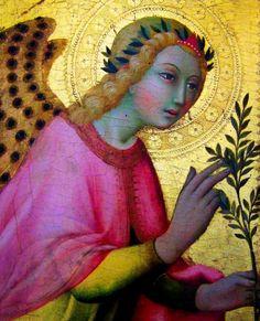 L'Ange de l'Annonciation  late fifteenth century  Gold ground on poplar- Sano di Pietro