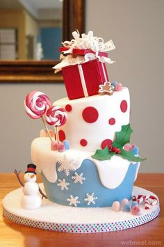 25 Creative Christmas Cake Decorating Ideas And Design Examples Noel Christmas, Christmas Goodies, Christmas Treats, Christmas Baking, Christmas Cakes, Christmas Birthday Cake, Winter Christmas, Christmas Parties, Cake Birthday